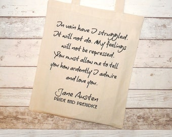 """Jane Austen Tote Bag, Mr Darcy's,  Pride & Prejudice, Gifts For Bookworms, Literary Gifts, """"You must allow me to..."""",  Fairtrade Shopper"""