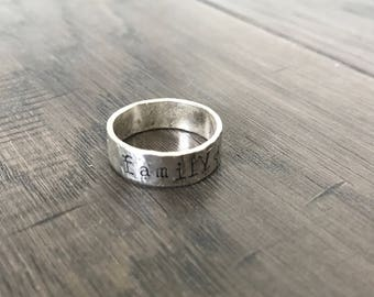 Stackable Name ring. Sterling silver Ring. Engraved Ring. Stackable rings. Name rings. Mothers rings. Push Present.