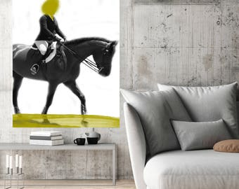 "Female Jockey 8-2, Extra Large Horse Black Green or Blue Contemporary Horse Canvas Art Print up to 72"" by Irena Orlov"