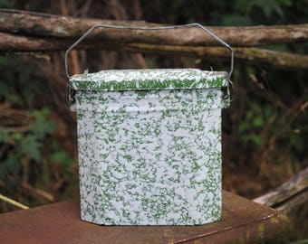 Traditional French enamel graniteware lunch pail box - mottled olive green and white