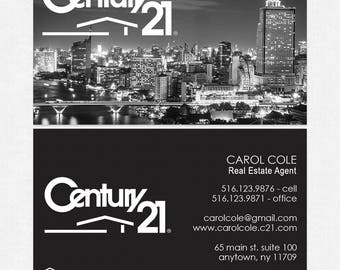 no photo Century 21 realtor business cards - thick, color both sides - FREE UPS ground shipping