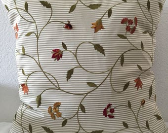 Single Pillow Cover 20x20 inch square -Accent PIllow, Sofa Cushion Cover, Bloom in Garden Embroidered Poly Taffeta Decorator Fabric by Bravo