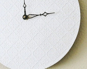 Minimalist Wall Clock, White Wall Clock, Recycled Art,  Home and Living, Decor and Housewares, Recycled Art,  Unique Gift