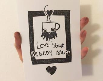 Beard Valentines Card, Recyled valentines Day card, handprinted beard, block printed anniversary card, lino, bearded screen