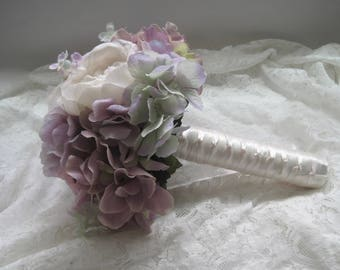 Mixed Lavender Bridal Bridesmaid Bouquet with Open Roses Peonies Hydrangea and Lilac French Knotted Bridesmaids Flower Girl Wedding Flowers