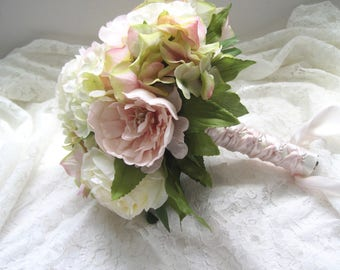 Bridal Bouquet Ivory Blush Pink Light Green Roses Hydrangea Peonies French Knotted with Pearl Accents on Handle....Ready to Ship