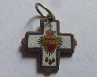 Tiny Enameled Religious Pendant, Charm, Sacre Coeur Montmartre, Souvenir. Circa 1920's
