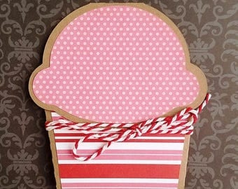 ON SALE Gift Card Holder, Polka Dots and Stripes Cupcake