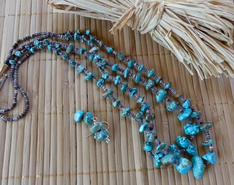 22 Inch Turquoise and Brown Penshell Heishi Double Strand Necklace with Earrings