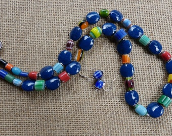 28 Inch Boho Hippie Ethnic Recycled Dark Blue and Colored Bead Necklace with Earrings