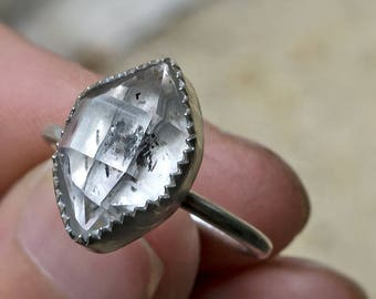 STERLING HERKIMER DIAMOND Solitaire Ring