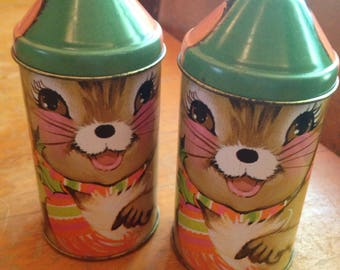 vintage cap-tins set of two christmas mice/mouse by daher england