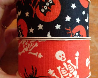 """vintage set of halloween ribbon for floral/craft purposes skeletons owls by offray 1-7/16"""" x 9' each"""