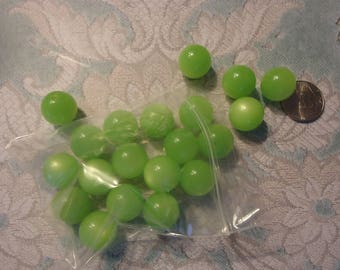 Vintage, New Old Stock, 14mm Moon Glow Beads, Apple Green, Jewelry Supply, Beading Component, Craft Supply, 20 Beads