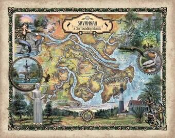 Savannah, savannah GA, savannah map, Tybee Island, tybee island art, savannah art, savannah print, savannah georgia map, map savannah ga