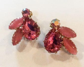 Juliana Earrings, Pink Glass Gold Tone, 1960s Vintage Jewelry SUMMER Sale