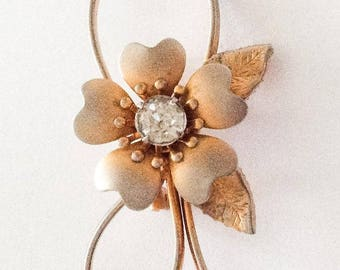 Art Deco Revival Pin, Gold Flower Brooch, Rhinestone, Vintage Jewelry SUMMER SALE