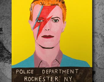 David Bowie Mugshot Painting, Pop Art Acrylic on Stretched Canvas, Paint, Ziggy Stardust, Music