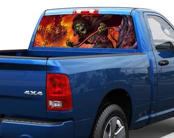 Skull green death in flame Rear Window Decal Sticker Pickup Truck SUV Car
