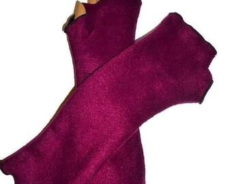 ON SALE Burgundy Fleece Armwarmers Fingerless Gloves Home Office Vintage Homemade Style