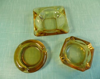 Vintage Gold Glass Ashtrays - Set Of 3