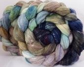 Batt in a Braid #31- Downpour -( 4.65 oz. ) Polwarth/ Mulberry Silk / Baby Alpaca / Rainbow Firestar/ Tencel( 40/25/15/10/10)