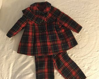 Vintage Childs Snowsuit,Little Girl Coat and Leggings,1960s,plaid,Stirup Pants