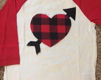 Boys Valentine's Day Shirt - Buffalo Plaid Heart Shirt - Buffalo Plaid - Valentine Shirt