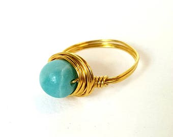 Amanzonite Ring, Blue Stone Ring, Gold Ring, Gemstone Jewelry, Handmade Ring, Wire-Wrapped Ring, Boho Ring, Choose Size, Sterling Silver