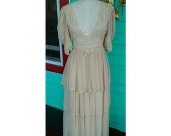 Beautiful Vintage 1975 Cream Lace Giorgio di Sant'Angelo Wedding Dress Rare