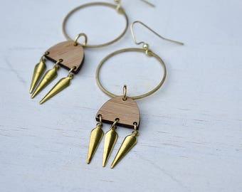 Bamboo and Brass Swing Earrings // Brass //