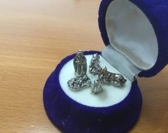 Silver Christmas miniature decoration crib made in Italy in jewelry box