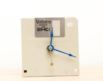Unique Desk clock - recycled floppy disk clock, ready to ship c9303