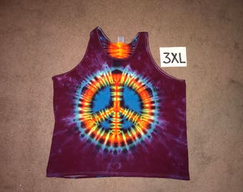 Tie Dye Tank Top ~ Rainbow Peace Sign With Raspberry Purple Background ~ i_6050 in 3XL