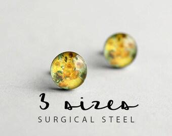 Floral post earrings, Surgical steel stud, Van Gogh earring studs, Fine art stud earrings, Mother's day
