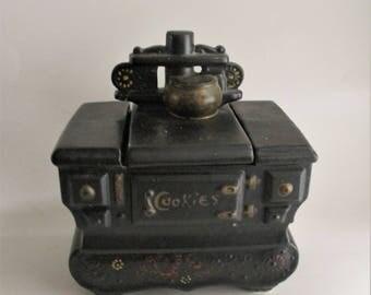 Vintage McCoy Cookie Jar Black Stove Kitchen Decor