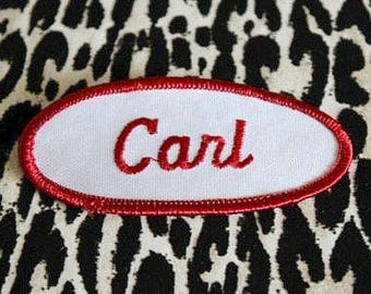 Retro NAME Embroidered WORK Patch - CARL ...Oval Shape - Vintage Throwback