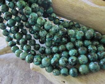 "8 mm African Turquoise Gemstone Beads AA Grade Blue Green Natural Jasper 16"" Round"
