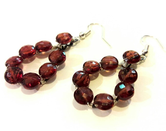 Deep Red Garnet Earrings, Very Vintage Collection, Sparkling Faceted Genuine Garnets, January Birthstone Gift