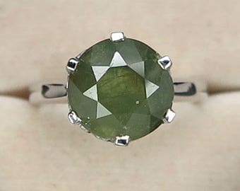 Demmantoid Garnet Natural Green Round Ring silver 925