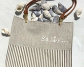 Linen Handbag / Linen and Ticking Tote / Anchor Design / Washable Bag