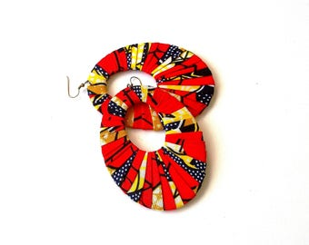 Traditional African Wax-Print Wrapped Oversized Oval or Button Earrings