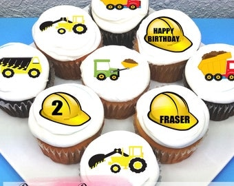 "Construction Themed Edible Icing Cupcake Toppers - 2"" - PRE-CUT - Sheet of 15"