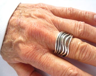 SALE Modernist Sterling Silver Asymmetrical Wave Ring Fans out from Solid Base to Various Waves.  Size 6.75.