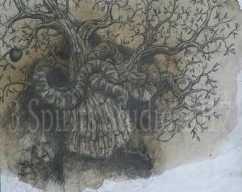 "Original art brut neo expressionist Symbolist Mixed Media Small Drawing- ""Forbidden Nectar"""