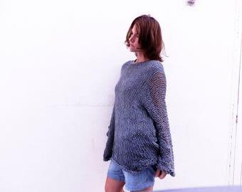 Hand knit woman sweater