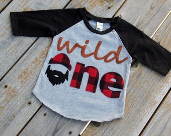 Lumberjack Wild One First Birthday Raglan, First Birthday Shirt, Lumberjack Birthday, Buffalo Check Shirt, One Shirt, Wild One Birthday