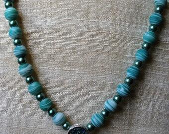 Green Dreams Druzy Beaded Necklace