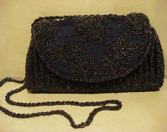 Vintage Blue Bead Embellished Clutch Handbag Purse