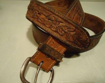 Vintage Distressed Tan Tooled Western Texas Belt